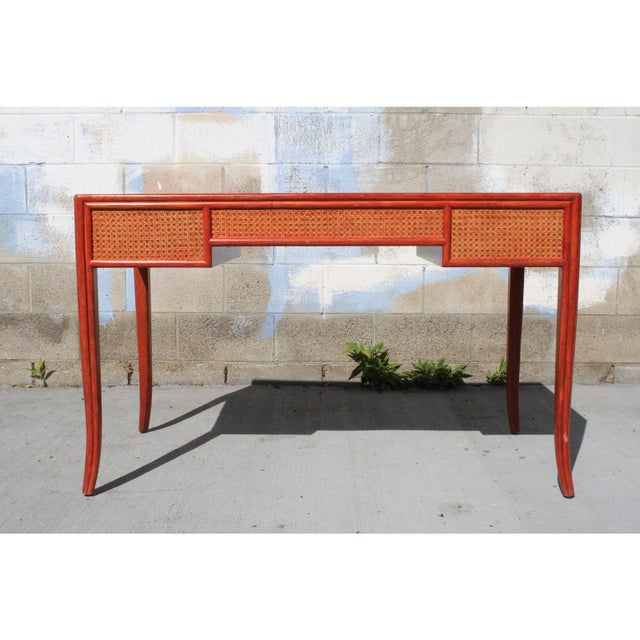 McGuire Vintage Barbara Barry for McGuire Leather Top Desk For Sale - Image 4 of 13