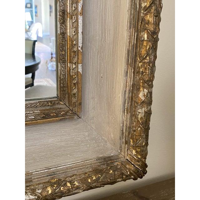 Antique Italian Gilt & Gray Painted Mirror