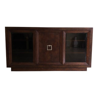 Contemporary Wood Buffet With Smokey Glass Doors For Sale