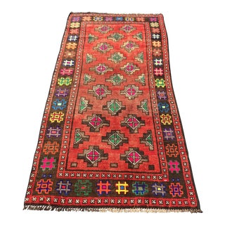 "1960s Vintage Turkish Anatolian Hand Weaved Wool Rug - 3'1""x6'2"""
