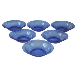 Vintage Cobalt Glass Salad Bowls - Set of 6