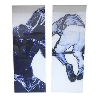 Large Pair Of Acrylic Art Panels For Sale