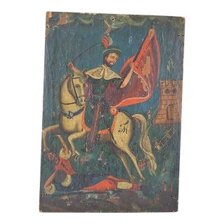 19th Century Spanish Colonial Folk Retablo of St. James the Moor-Slayer For Sale