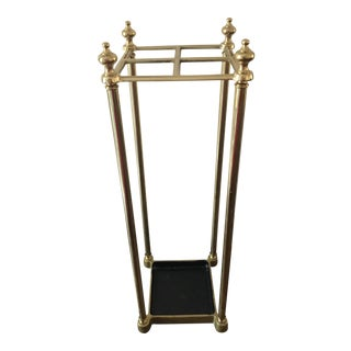 Mid 20th Century Brass and Cast Iron Umbrella Stand For Sale