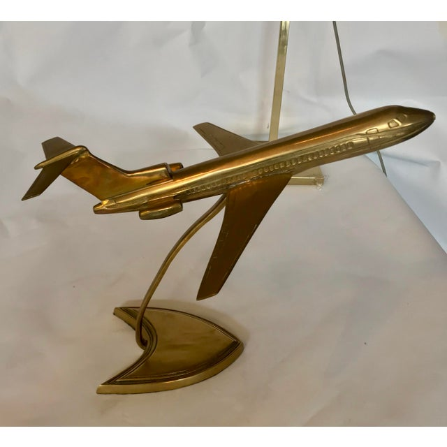 Mid-Century Modern Brass Boeing Airplane Display Model For Sale - Image 3 of 6