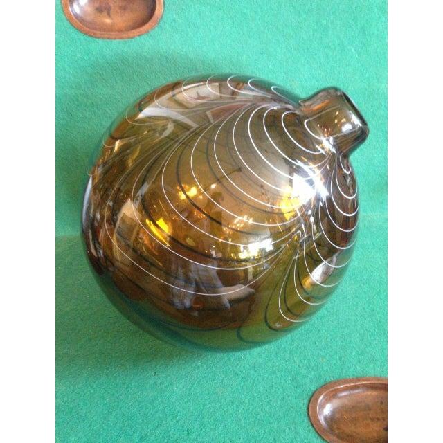 Contemporary 2004 Large Italian Alberto Dona Murano Hand Blown Swirled Art Glass Bottle Vase For Sale - Image 3 of 13