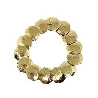 14k Gold Articulated Hammered Octagonal Link Bracelet For Sale