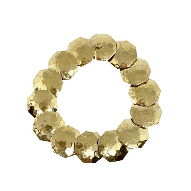 14k Gold Articulated Hammered Octagonal Link Bracelet For Sale