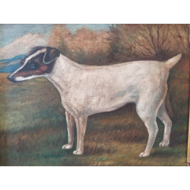 A vintage charming folk art oil on board painting of a jack russell terrier. unsigned. England.