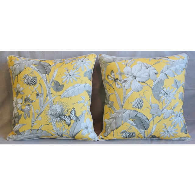 Pair of large custom-tailored pillows in unused English printed linen fabric depicting a beautiful floral design with...