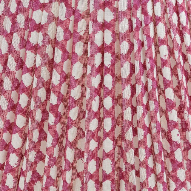 Our Bedwyn Empire Gathered Lampshade in Fuchsia Wicker light linen. Balloon lined in cream cotton matching the frame...