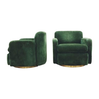 Paul Evans Style Green Swivel Chairs - A Pair