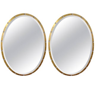 Vintage Oval Crystal and Gold Mirrors-a Pair For Sale