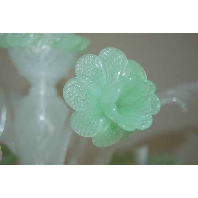 Chandelier Vintage Murano Glass Opaline White Green For Sale - Image 10 of 11