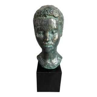 Vintage Bronze Bust of a Woman Sculpture