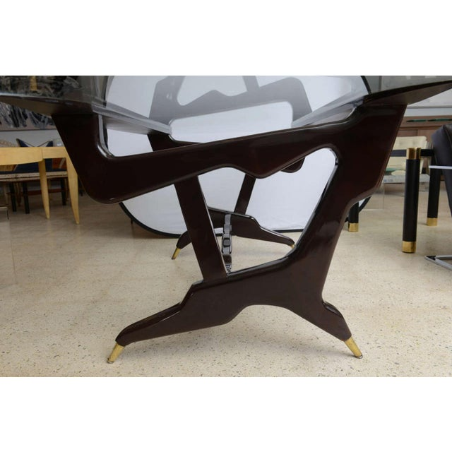 Brass Rare Italian Modern Dark Walnut and Brass Writing/Centre Table, Gian Casè For Sale - Image 7 of 8