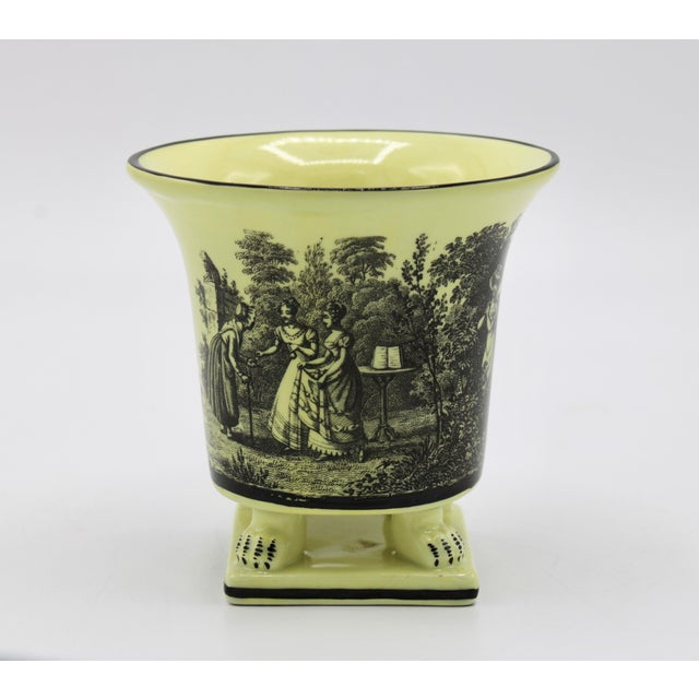 1960s Italian Mottahedeh Canary Yellow Ceramic Cachepot Vessel For Sale - Image 5 of 12
