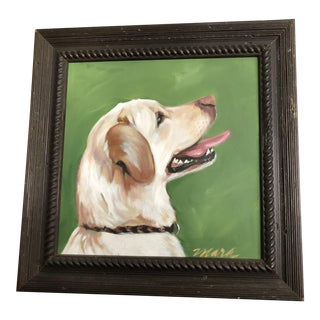 1980s Yellow Lab Oil Painting For Sale
