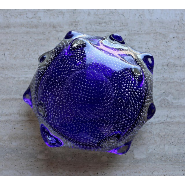 Art Glass 1960s Sculptural Blue Murano Art Glass Bowl For Sale - Image 7 of 8