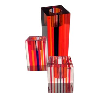 Vintage Block Opt Art Thick Colored Graduated Lucite Candle Holders – a Collection of Three For Sale