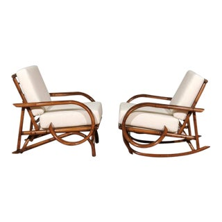 Special Restored Vintage Rattan Lounge and Rocker Pair For Sale
