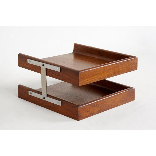 Danish Modern 1960s Two-Tier Walnut Paper Tray For Sale - Image 3 of 7