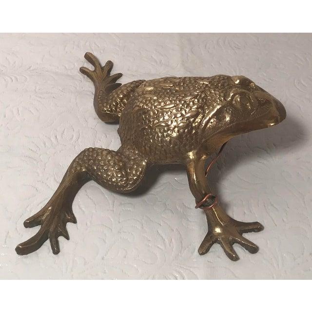 Vintage Brass Frog Figurine For Sale - Image 4 of 9