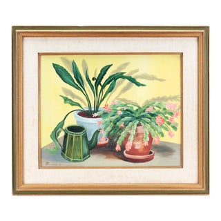 1977 Succulents Still Life Original Oil Painting For Sale