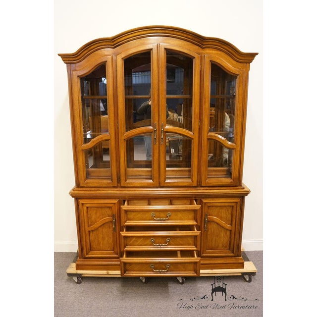 Late 20th Century Vintage Dixie Country French Oak Buffet & Lighted China Hutch For Sale In Kansas City - Image 6 of 13