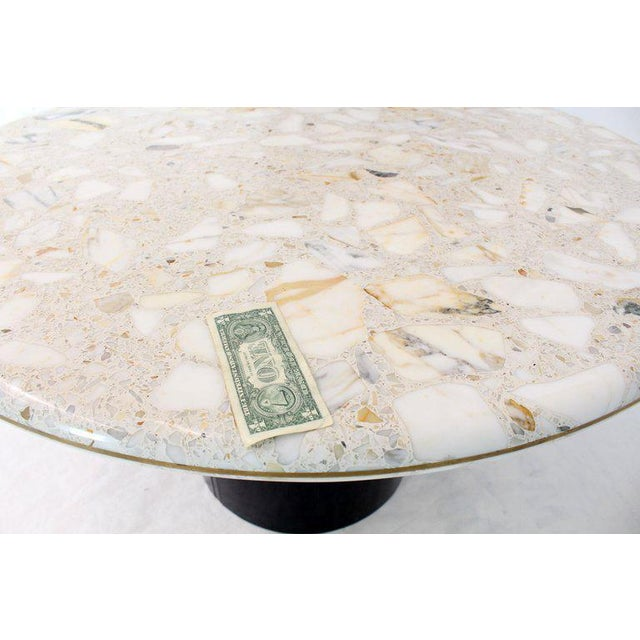 Gray Round Marble Top Cylinder Base Center Conference Gueridon Dining Table For Sale - Image 8 of 10