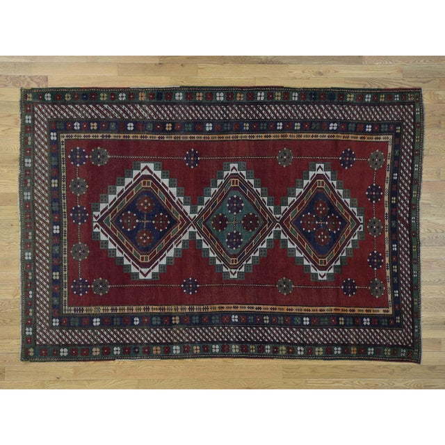 Antique Caucasian Kazak Hand Knotted Rug- 5′9″ × 8′5″ For Sale - Image 13 of 13