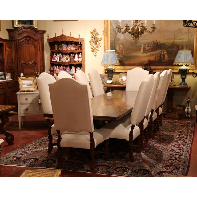 Wood Large French Carved Walnut Dining Room Side Chairs With Arched Top - Set of 10 For Sale - Image 7 of 13