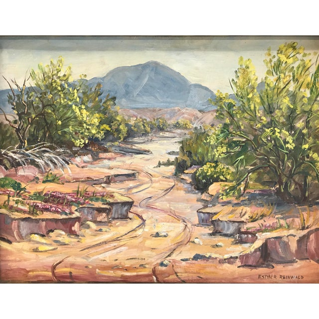 """Boho Chic """"Pala-Verde Tree In Bloom"""" Landscape Painting For Sale - Image 3 of 9"""
