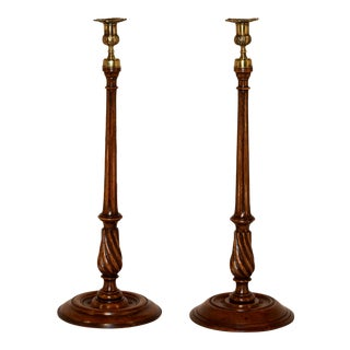 19th C Set of 2 Tall Candlesticks For Sale