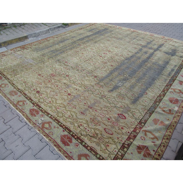 Distressed Antique Oversized Square Rug - 12′10″ × 13′9″ For Sale - Image 4 of 6
