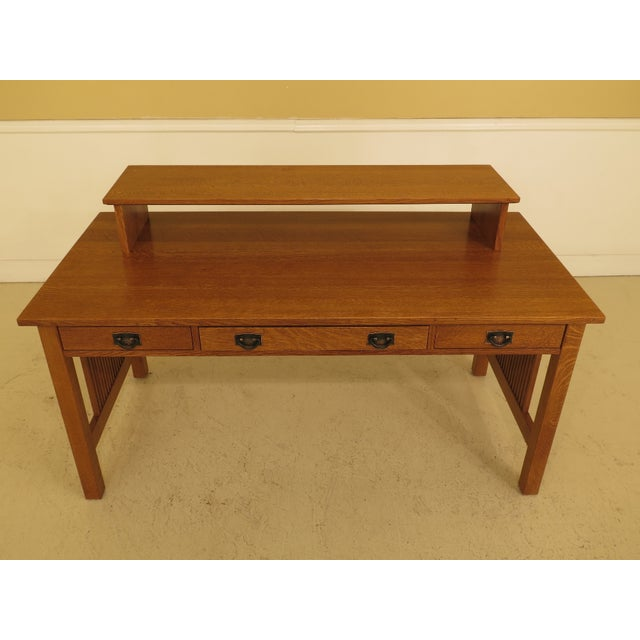 Stickley mission oak executive desk with media shelf. Made circa 1998. Details: #35 Finish Dovetailed Drawer Construction...