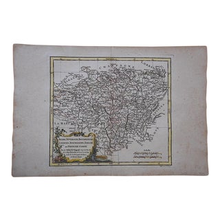 Antique Hand Colored Engraving-18th C. Map-Regions Of France
