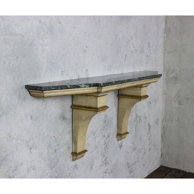 French Painted and Gilt Wall-Mounted Console With Green Marble For Sale - Image 9 of 10