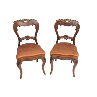 Antique Distressed Brown Slipper Chairs - a Pair