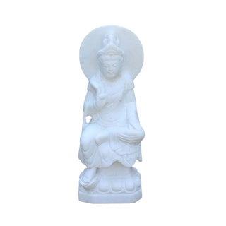 Chinese White Marble Stone Sitting Kwan Yin Tara Bodhisattva Statue For Sale