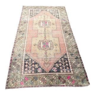 Vintage Distressed Turkish Handmade Area Rug-4′2″ × 8′3″ For Sale