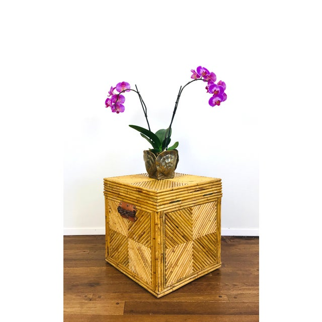 Wood Vintage Natural Pencil Reed Rattan Gabriella Crespi Style Trunk Chest Table For Sale - Image 7 of 9