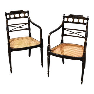Pair of English Regency Black Lacquered and Cane Seat Armchairs, Circa 1815 For Sale
