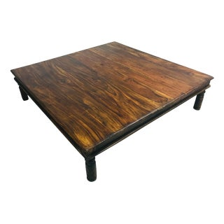 Oversized Rustic Rosewood Coffee Table For Sale