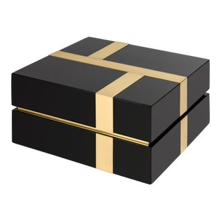 Flair Collection Righe Box in Black / Brass For Sale