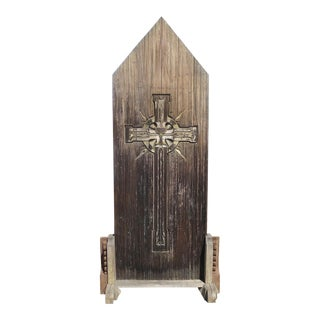 1920s Large Rustic Carved Wooden Church Panel of Crucifix For Sale