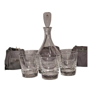 Steuben Blown Crystal Rocks Glasses and Decanter - 9 Piece Set For Sale