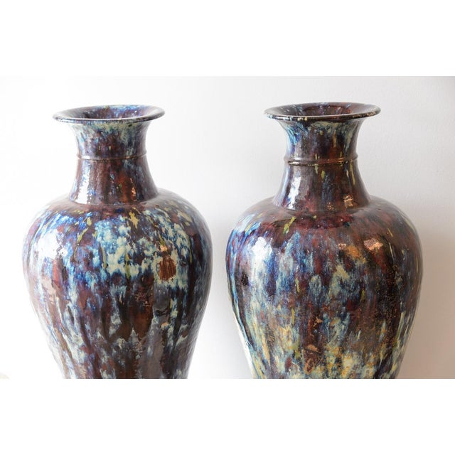 Fabulous and Rare large pair of Asian Glazed Ceramic Vases, 19th century. Great condition, one has a small scuff to the...
