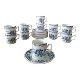 Kensington Stafforshire Ironstone Balmoral 1801 Cups & Saucers, 22 Piece For Sale