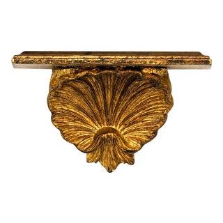 20th Century Italian Gold Gilt Shell Carved Wood Wall Bracket Shelf For Sale